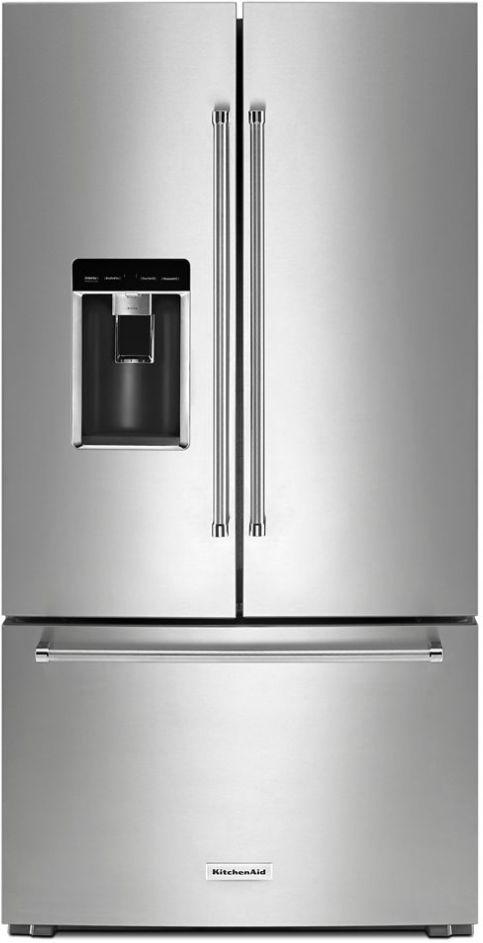 KitchenAid® 23.8 Cu. Ft. Stainless Steel with PrintShield™ Finish Counter Depth French Door Refrigerator-KRFC704FPS
