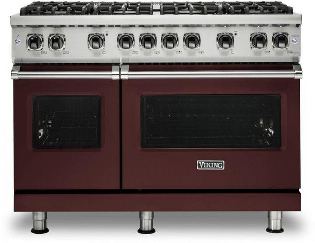 "Viking® 5 Series 48"" Kalamata Red Pro Style Liquid Propane Gas Range-VGR5488BKALP"