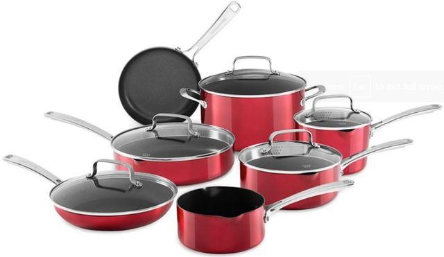 KitchenAid® 12 Piece Grenadine Battery Anodized Nonstick Aluminum Cookware-KC3AS12GD