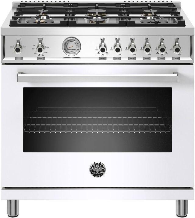 Cuisinière au gaz style Pro Bertazzoni® de 5,9 pi³ de 36 po - Blanc-PROF366GASBIT
