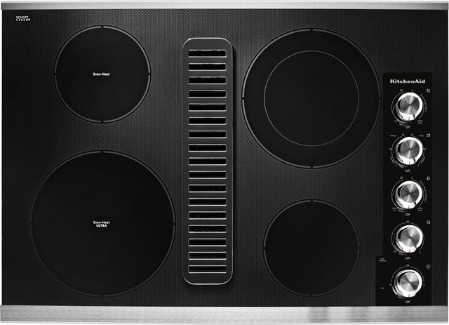 """KitchenAid® 30"""" Stainless Steel Electric Downdraft Cooktop-KCED600GSS"""