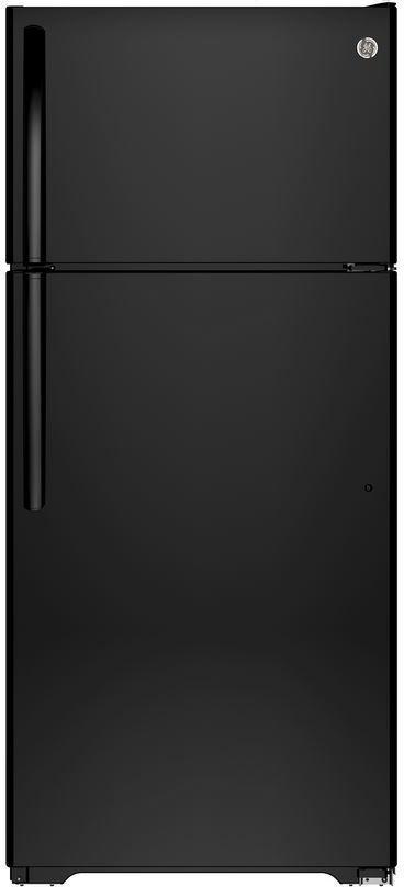 GE® 21.2 Cu. Ft. Top Freezer Refrigerator-Black-GIE21GTHBB