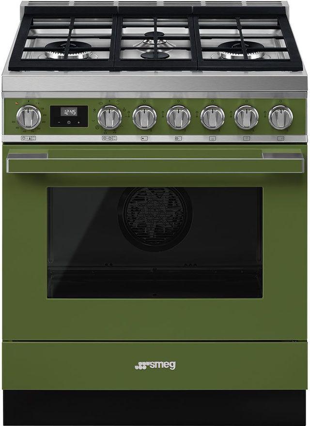"Smeg Portofino Aesthetic 30"" Olive Green Pro Style Dual Fuel Natural Gas Range-CPF30UGMOG"