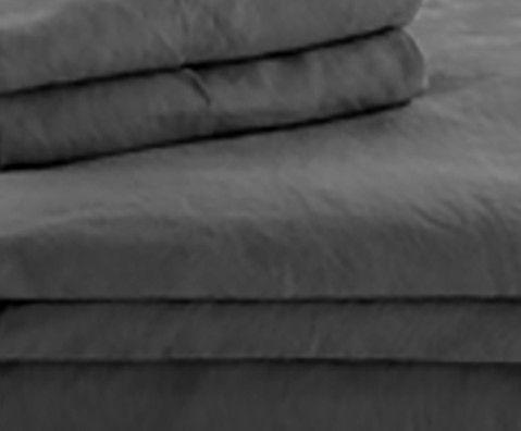 Malouf® Sleep Woven™ French Linen Charcoal Queen Duvet Set-WO162QQCCLD