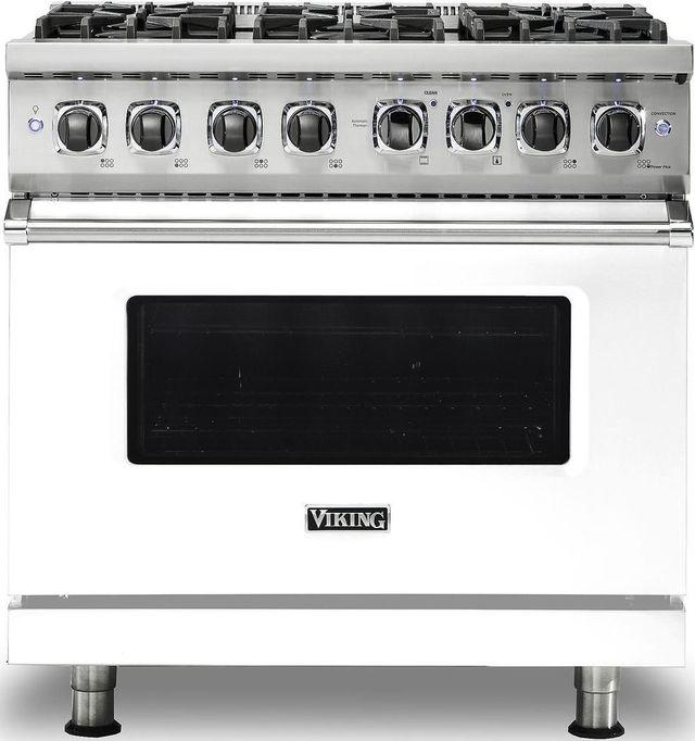 "Viking® Professional 5 Series 36"" Pro Style Dual Fuel Range-White-VDR5366BWH"