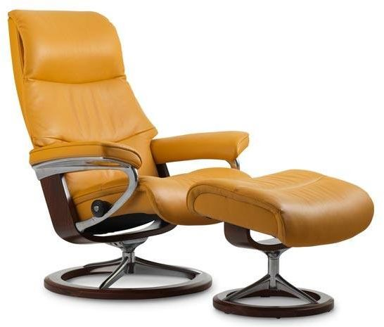 Stressless® by Ekornes® View Large Signature Base Chair and Ottoman-1308315