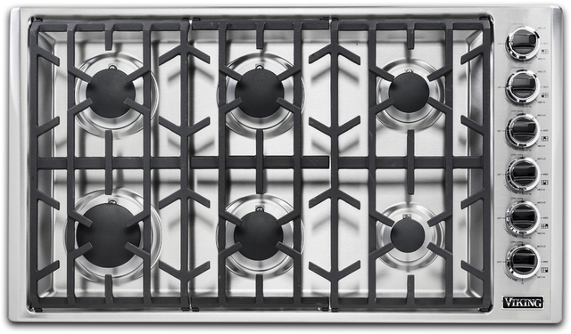 """Viking® Professional 5 Series 37"""" Stainless Steel Natural Gas Cooktop-VGSU53616BSS"""
