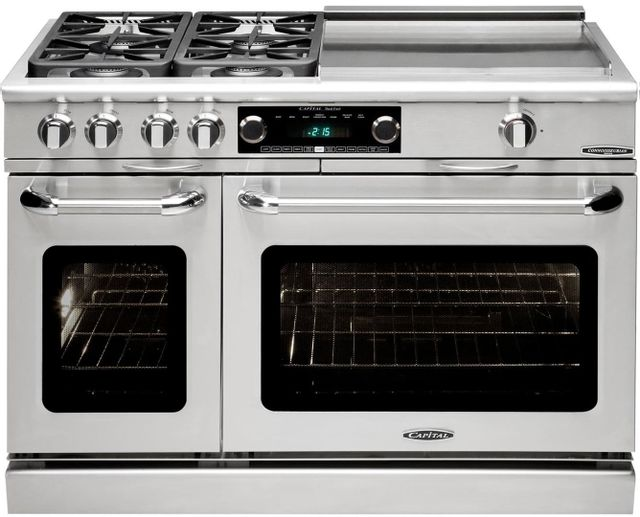 """Capital Connoisseurian 48"""" Stainless Steel Free Standing Dual Fuel Range-CSB484GGN"""