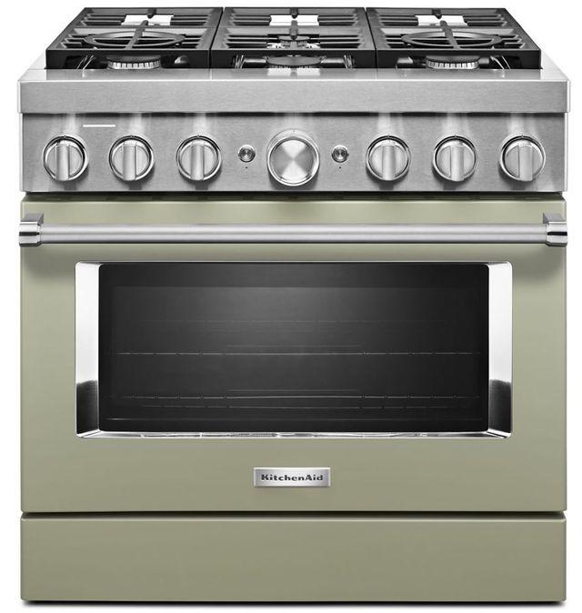 "KitchenAid® 36"" Avocado Cream Commercial-Style Free Standing Dual Fuel Range-KFDC506JAV"
