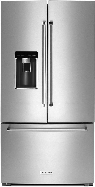 KitchenAid® 23.8 Cu. Ft. Stainless Steel Counter Depth French Door Refrigerator-KRFC704FSS