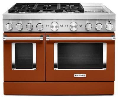 """KitchenAid® 48"""" Scorched Orange Commercial-Style Free Standing Dual Fuel Range with Griddle-KFDC558JSC"""