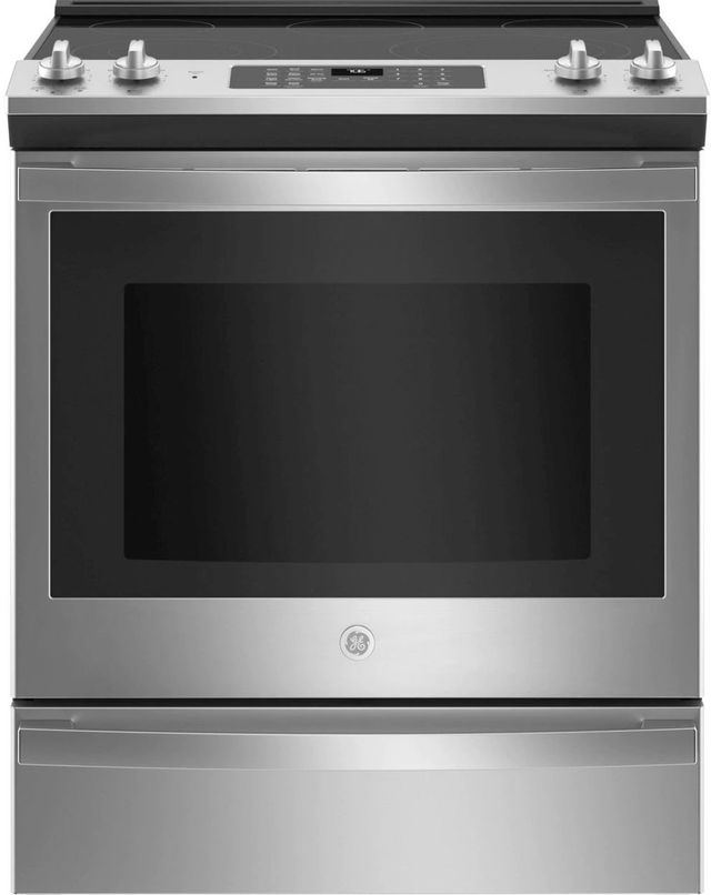 """GE® 30"""" Stainless Steel Slide In Electric Convection Range-JS760SPSS"""