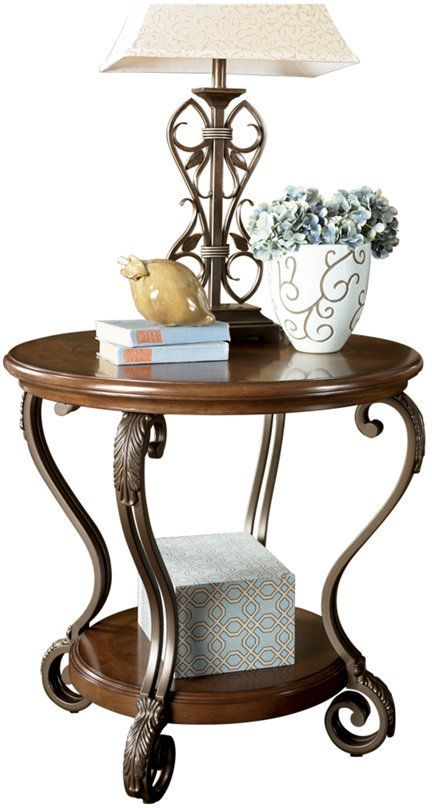 Signature Design by Ashley® Nestor Medium Brown Round End Table-T517-6
