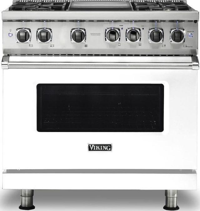 "Viking® Professional 5 Series 36"" Pro Style Dual Fuel Range-White-VDR5364GWH"