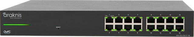 SnapAV Araknis Networks® 110 Series Black 16 Front Ports Unmanaged+ Gigabit Switch-AN-110-SW-F-16