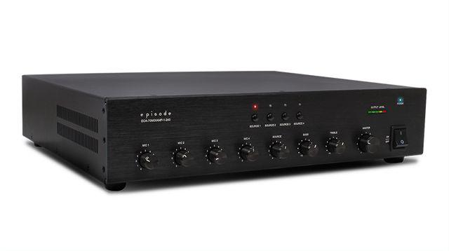 SnapAV Episode® 240 Watt Rack Mountable Volt Commercial Amplifier-Mixer-ECA-70MIXAMP-1-240