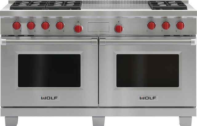 """Wolf® 60"""" Pro Style Dual Fuel Range-Stainless Steel-DF606F"""
