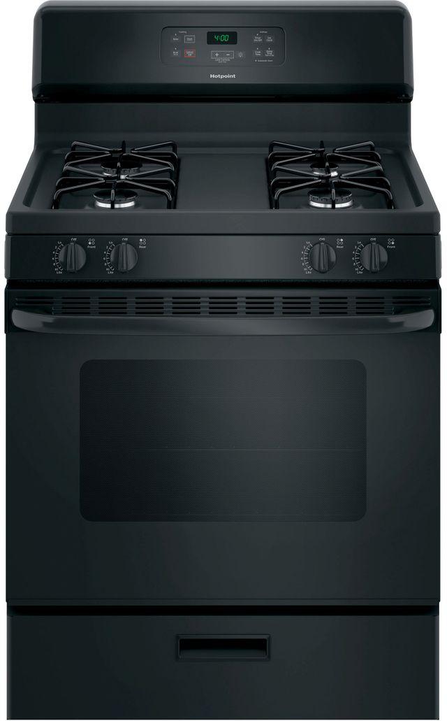 "Hotpoint® 30"" Black Free Standing Gas Range-RGBS400DMBB"