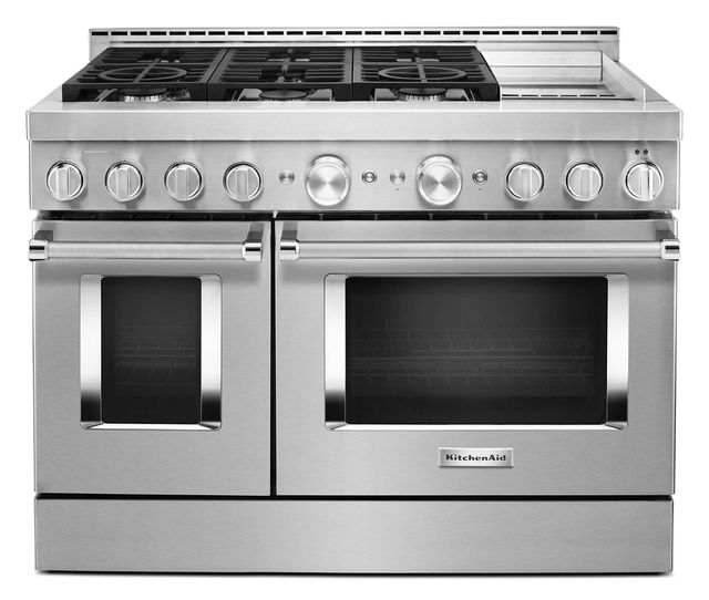 """KitchenAid® 48"""" Stainless Steel Commercial Style Freestanding Gas Range-KFGC558JSS"""