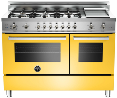 "Bertazzoni Professional Series 48"" Free Standing Dual Fuel Ranges-Yellow-PRO486GGASGI"
