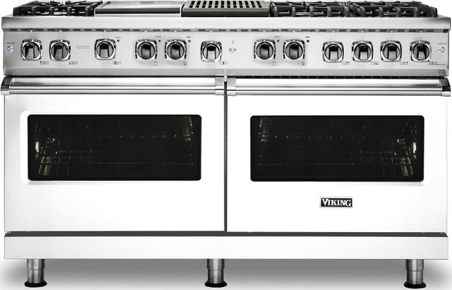 "Viking® Professional 5 Series 60"" Pro Style Dual Fuel Range-White-VDR5606GQWHLP"