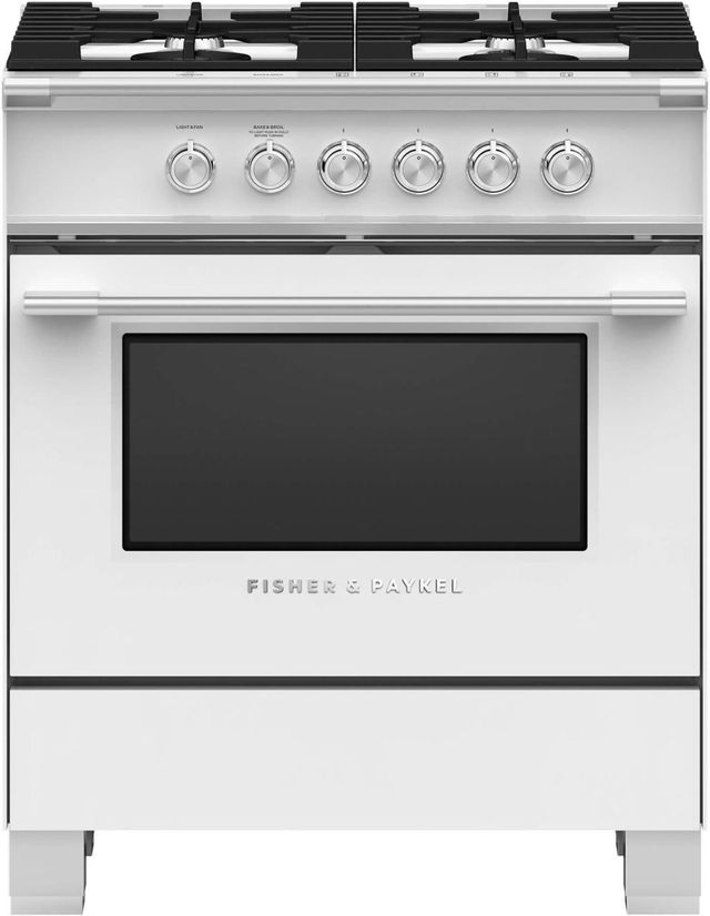 """Fisher Paykel 30"""" Free Standing Gas Range-White-OR30SCG4W1"""