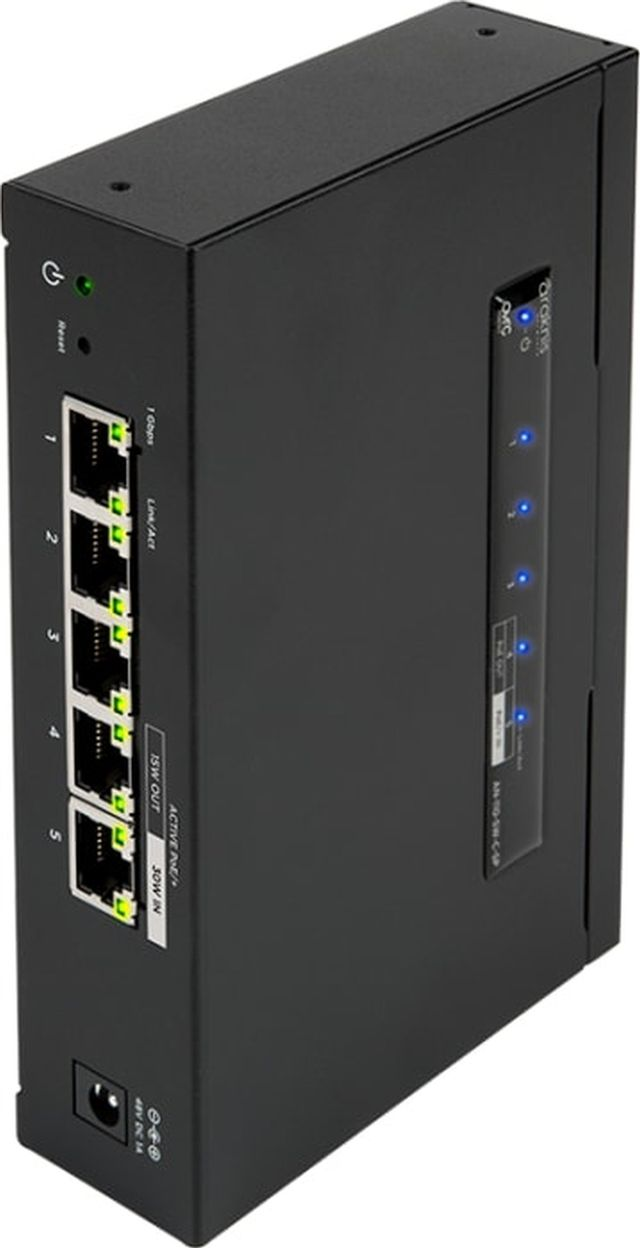 SnapAV Araknis Networks® 110 Series Black 5 Side Ports Unmanaged+ Gigabit Compact Switch-AN-110-SW-C-5P