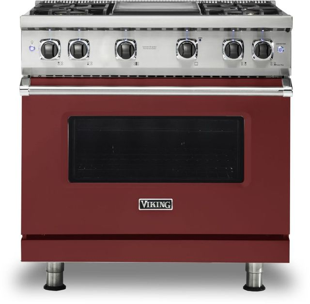 """Viking® 5 Series 36"""" Reduction Red Pro Style Natural Gas Range with 12"""" Griddle-VGR5364GRE"""