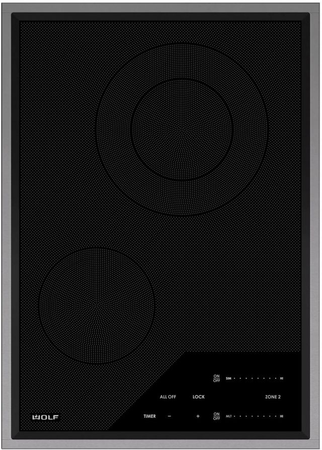"""Wolf® 15"""" Stainless Steel Transitional Electric Cooktop-CE152TF/S/208"""