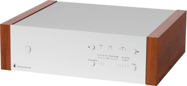 Pro-Ject DS2 Line Silver High-End Digital/Analogue Converter with Rosewood Wood Panels-DAC Box DS2 Ultra-SV-RW