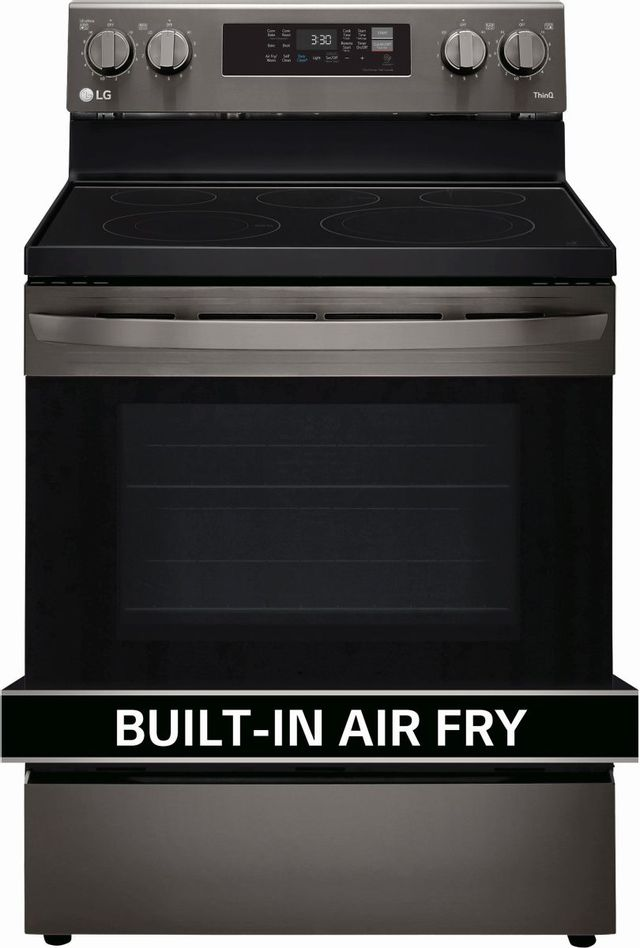 """LG 30"""" PrintProof™ Black Stainless Steel Free Standing Electric Convection Smart Range with Air Fry-LREL6323D"""