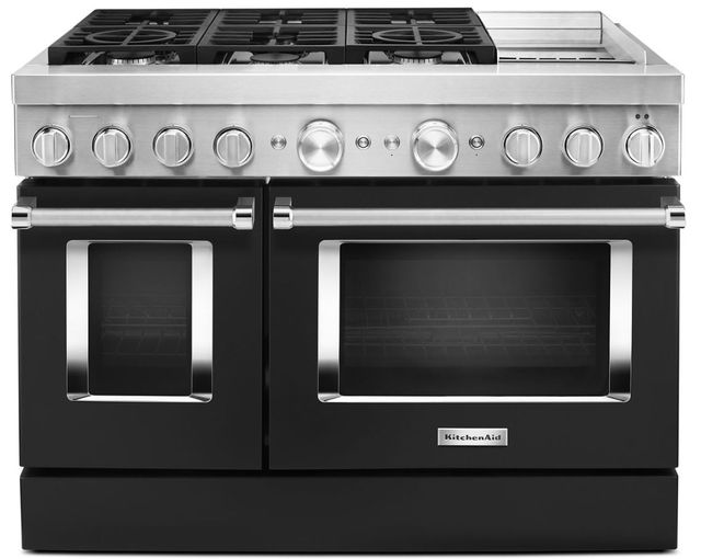 """KitchenAid® 48"""" Imperial Black Commercial-Style Free Standing Dual Fuel Range with Griddle-KFDC558JBK"""
