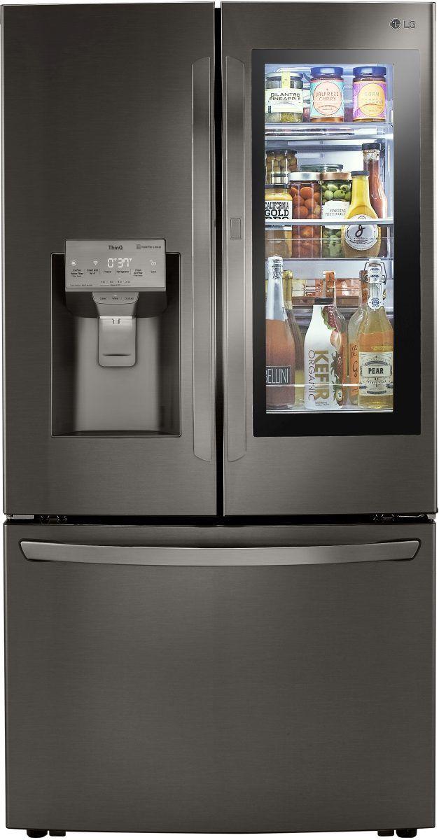 LG 23.5 Cu. Ft. PrintProof™ Black Stainless Steel Counter Depth French Door Refrigerator-LRFVC2406D