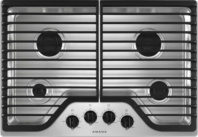 """Amana® 30"""" Stainless Steel Gas Cooktop-AGC6540KFS"""
