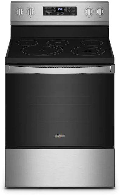 """Whirlpool® 30"""" Fingerprint Resistant Stainless Steel Freestanding Electric Range with 5-in-1 Air Fry Oven-WFE550S0LZ"""