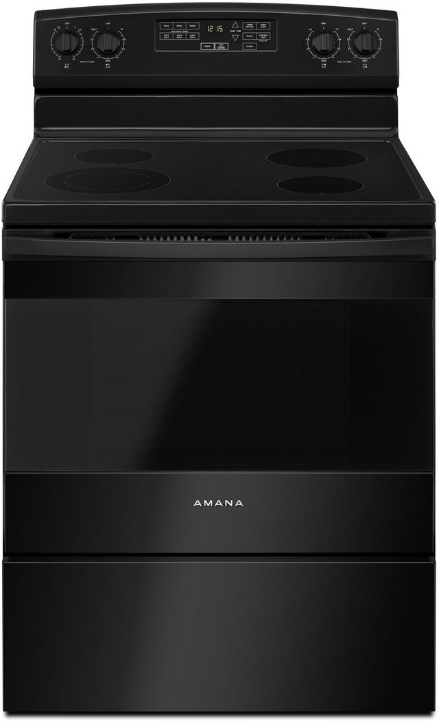 "Amana® 29.88"" Black Free Standing Electric Range-AER6603SFB"
