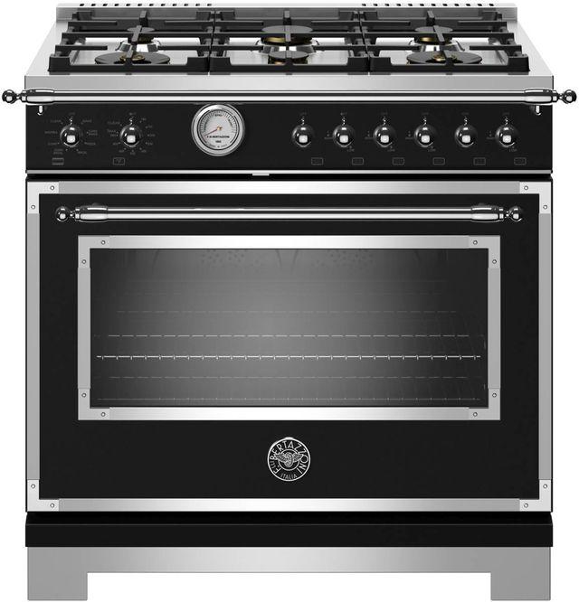 Cuisinière au gaz style Pro Bertazzoni® de 5,9 pi³ de 36 po - Noir mat-HERT366GASNET