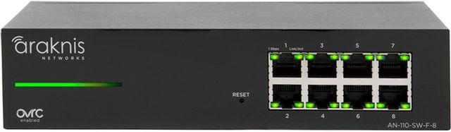 SnapAV Araknis Networks® 110 Series Black 8 Front Ports Unmanaged+ Gigabit Switch-AN-110-SW-F-8
