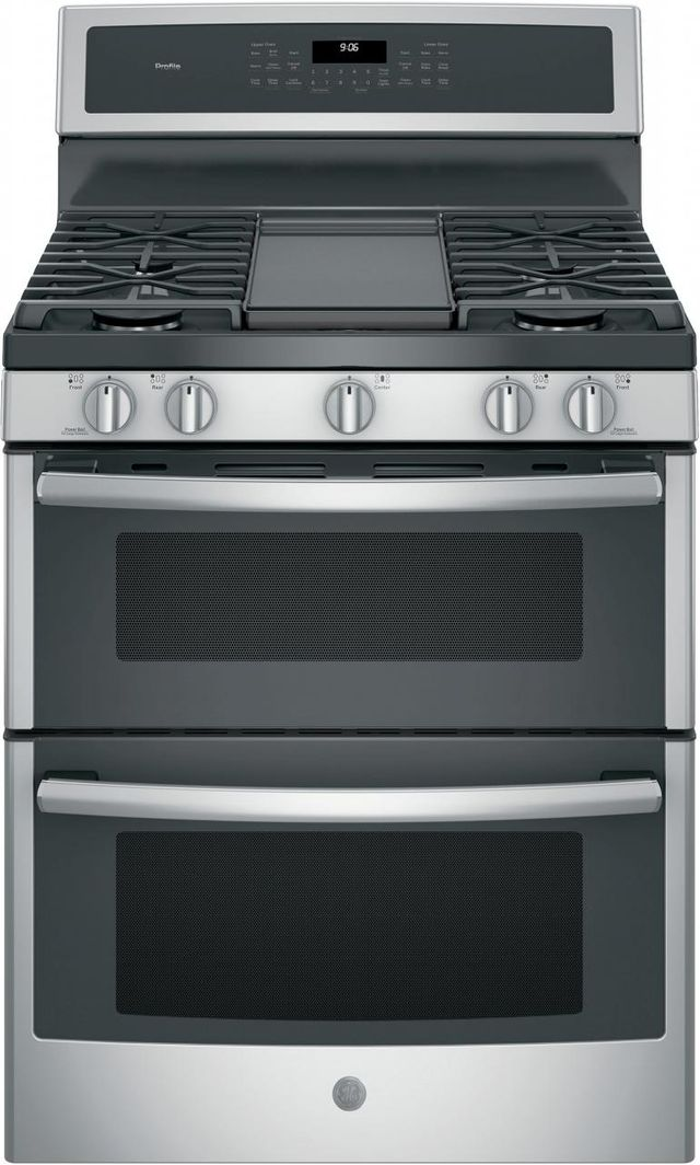 """GE Profile™ Series 30"""" Stainless Steel Free Standing Gas Double Oven Convection Range-PGB960SEJSS"""