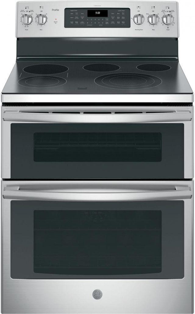 """GE® Profile™ Series 30"""" Stainless Steel Free Standing Electric Double Oven Convection Range-PB980SJSS"""