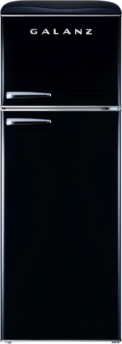 Galanz 12 Cu. Ft. Vinyl Black Retro Top Mount Refrigerator-GLR12TBKEFR