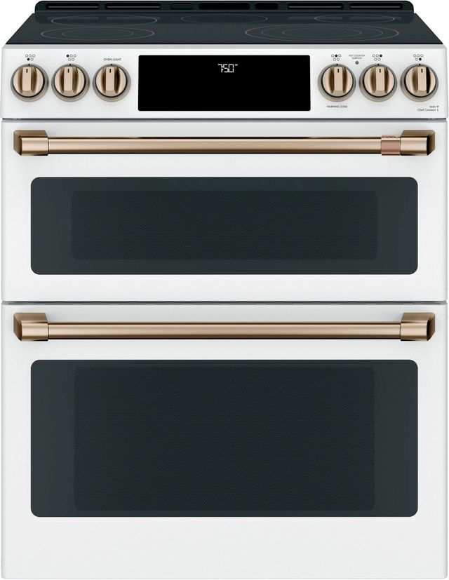 "Café™ Matte White 30"" Slide In Double Oven Electric Range-CES750P4MW2"