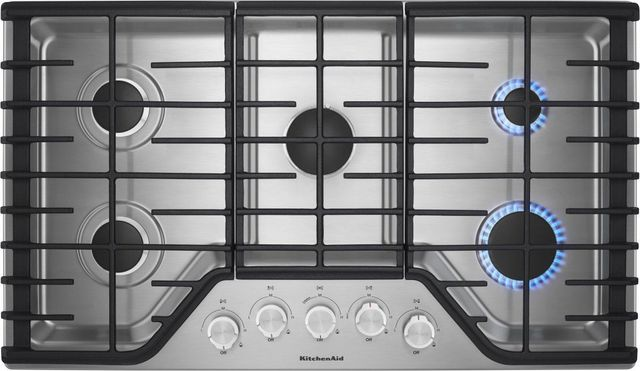 KitchenAid® 36'' Stainless Steel Gas Cooktop-KCGS356ESS