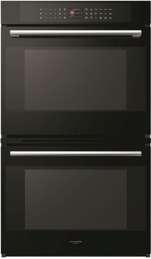 """Fulgor® Milano 700 Series 30"""" Black Glass Double Electric Wall Oven-F7DP30B1"""