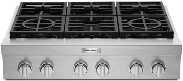 "KitchenAid® 36"" Stainless Steel Gas Rangetop-KCGC506JSS"