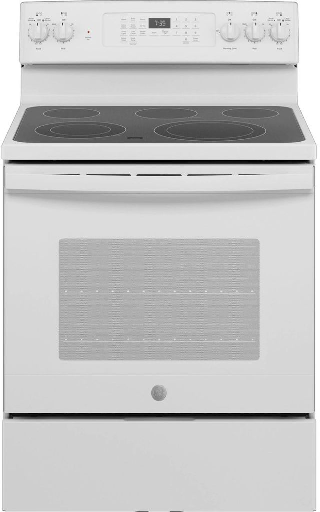"""GE® 30"""" White Free Standing Electric Convection Range-JB735DPWW"""