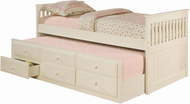 Coaster® Rochford White Youth Twin Captain's Trundle Bed-300107