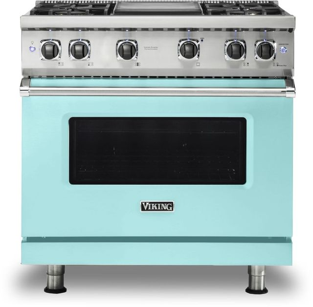"""Viking® 5 Series 36"""" Bywater Blue Pro Style Natural Gas Range with 12"""" Griddle-VGR5364GBW"""