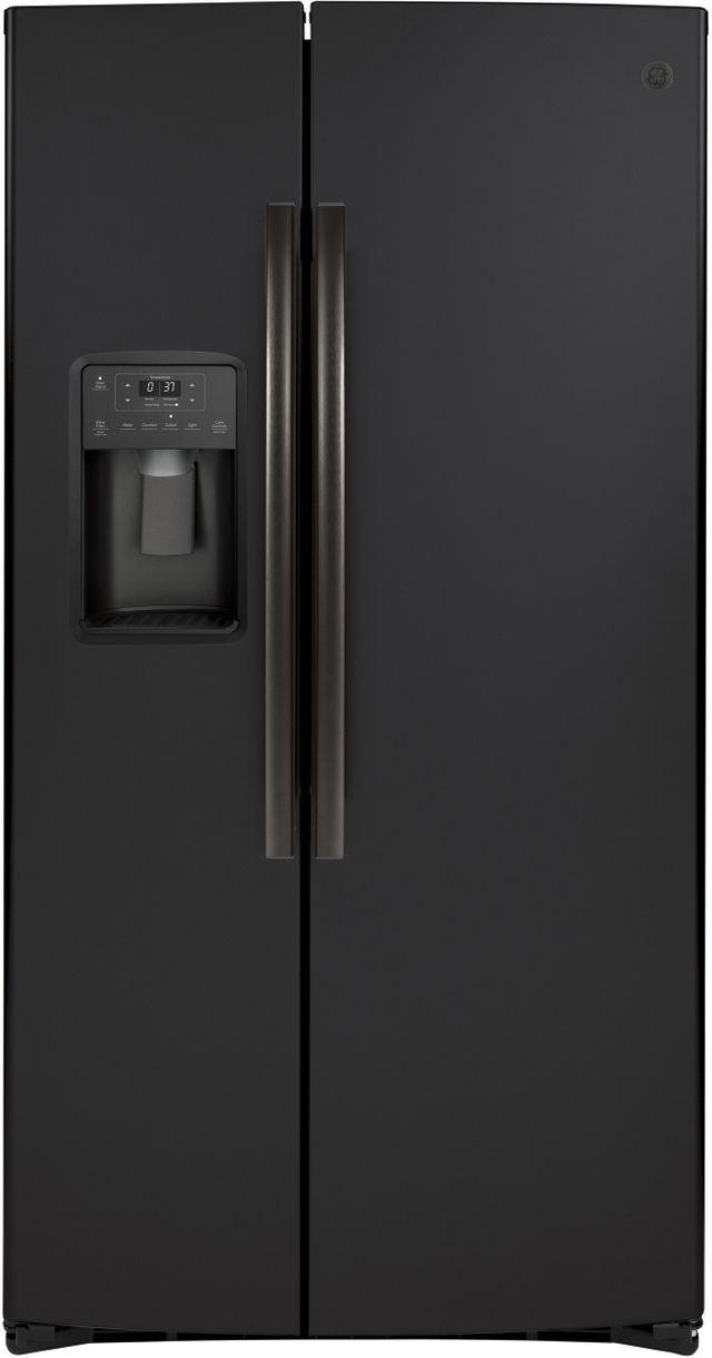GE® 25.1 Cu. Ft. Black Slate Side-By-Side Refrigerator-GSS25IENDS