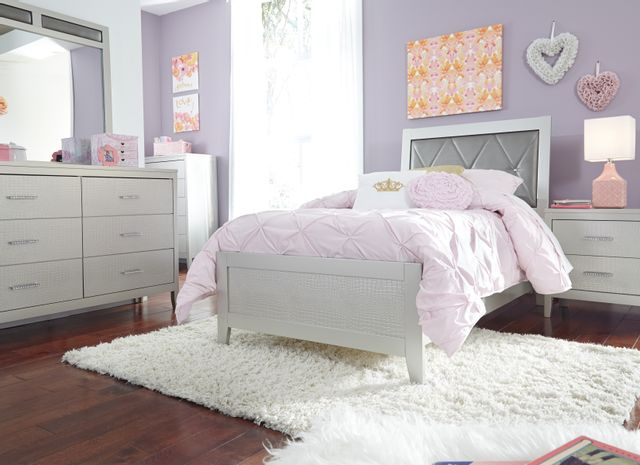 Signature Design by Ashley® Olivet Silvertone Metallic Twin Upholstered Panel Headboard and Footboard-B560-53